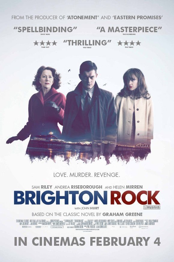 The remake of 'Brighton Rock' in 2010: Starring Sam Riley, Andrea Riseborough, Andy Serkis, John Hurt, and Helen Mirren. Although the novel and original film are both set in the 1930s, this adaptation takes place in Brighton during the Mods and Rockers era of the 1960s. Filmed largely in Eastbourne, with the Pier standing in for Brighton Pier. Some scenes were shot in Brighton.