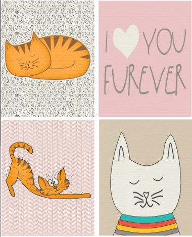 Whimsical Comical Cat Wall Art Set of 4 Prints