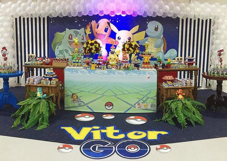"""O Vitor adora caçar pokemons, qual o melhor tema para a festa dele? <span class=""""emoji emoji1f60d""""></span> A festa foi uma caçada espetacular ..."""