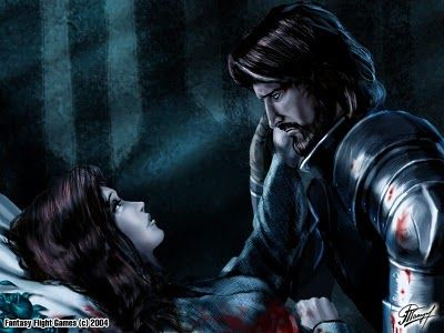 "Ned at his sister Lyanna Stark's deathbed. ""The fever had taken her strength and her voice had been faint as a whisper, but when he gave her his word, the fear had gone out of his sister's eyes. Ned remembered the way she had smiled then, how tightly her fingers had clutched his as she gave up her hold on life.... They had found him still holding her body, silent with grief. The little crannogman, Howland Reed, had taken her hand from his."""