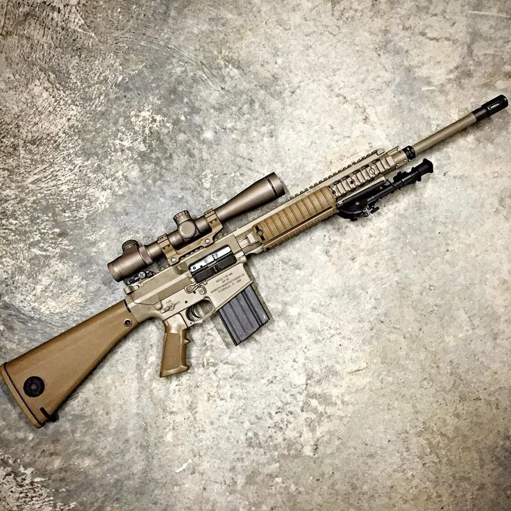 Knights Armament SR25 The SR-25 (Stoner Rifle-25) is a designated marksman rifle designed by Eugene Stoner and manufactured by Knight's Armament Company. The SR-25 uses a rotating bolt and a direct impingement gas system. It is loosely based on Stoner's AR-10, rebuilt in its original 7.62×51mm NATO caliber. Up to 60% of parts of the SR-25 are interchangeable with the AR-15 and M16—everything but the upper and lower receivers, the hammer, the barrel assembly and the bolt carrier group. SR-25…