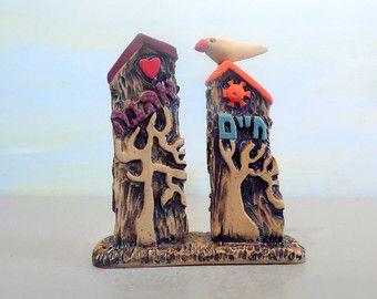 Keramik-Skulptur Ton Häuser, Hebräisch, Baum des Lebens jüdische Hochzeitsgeschenk, jüdische Kunst, jüdische Geschenk, Judaisch Geschenk Kunst Leben Liebe Israel