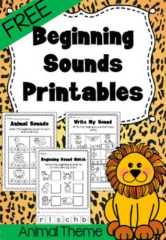 this freebie features 3 different beginning sound printables which are animal themed they are. Black Bedroom Furniture Sets. Home Design Ideas