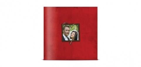 1001 Faire-part Remerciement mariage – Cœur argenté posé sur fond rouge