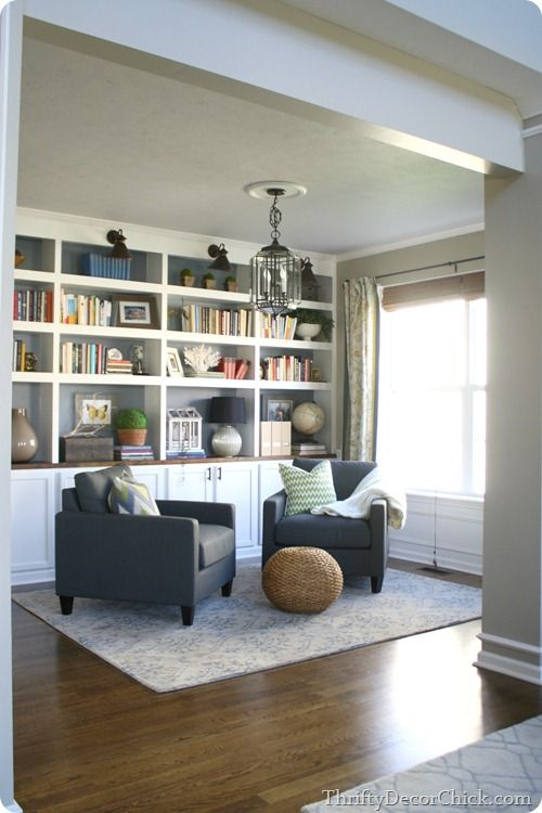 A dining room turned library transformation