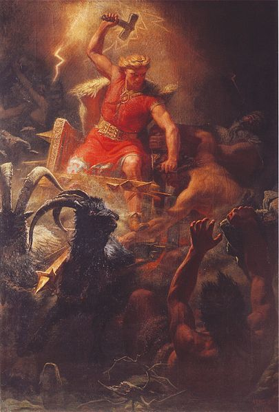 """Thor, also known as the Thunderer, is considered to be the protector of all Midgard, and he wields the mighty hammer Mjollnir. His battle chariot is drawn by two goats, and his hammer Mjollnir causes the lightning that flashes across the sky. Of all the Norse deities, Thor is the most """"barbarian"""" of the lot; rugged, powerful, and lives by his own rules, although he is faithful to the rest of the Aesir. The day Thursday (Thorsdaeg) is sacred to him."""