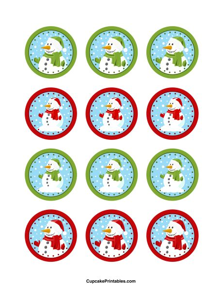 Snowman cupcake toppers. Use the circles for cupcakes, party favor tags, and more. Free printable PDF download at http://cupcakeprintables.com/toppers/snowman-cupcake-toppers/