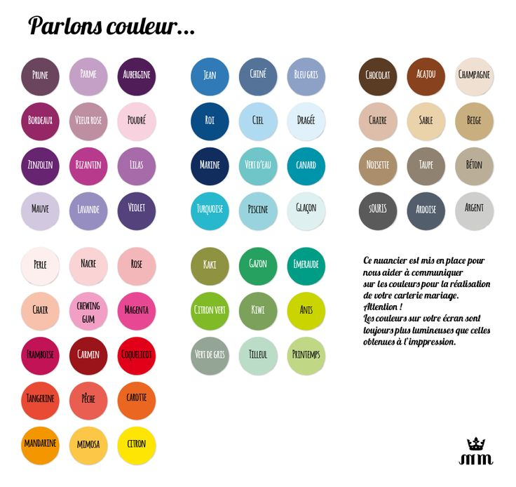 nuancier couleurs mariage - Crazy Color Nuancier