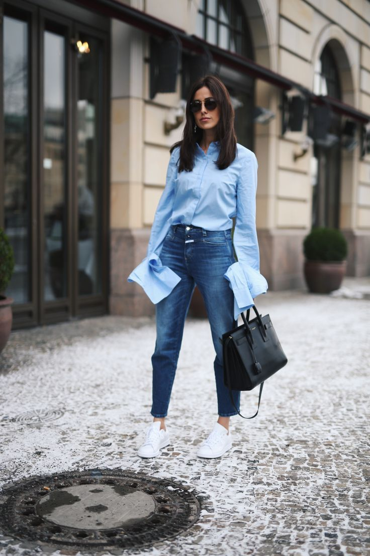 Crisp blue button down and denim. WOMEN'S ATHLETIC & FASHION SNEAKERS http://amzn.to/2kR9jl3