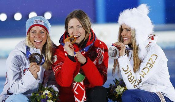Women's Biathlon: Darya Domracheva [Belarus - Gold], Gabriela Soukalova [Czech Republic - Silver], Tiril Eckhoff [Norway - Bronze]