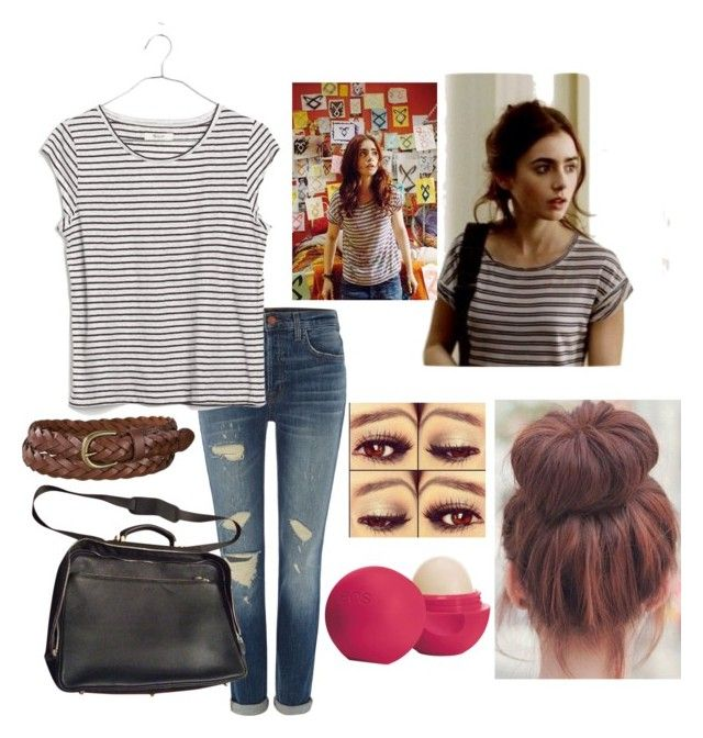 """""""Clary Fray tmi inspired outfit"""" by bella-haverland ❤ liked on Polyvore featuring J Brand, Madewell, Furla, Eos and Uniqlo"""