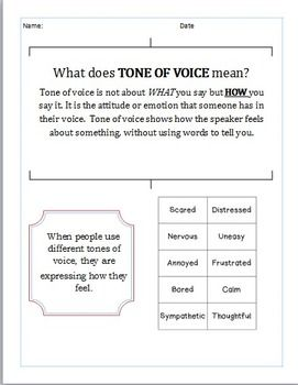 This is a great resource for teaching the concept of 'tone of voice' with students.  I use it for my students on the autism spectrum as a social skill lesson.  It is a fun and interactive lesson where students of all levels can participate.  Enjoy!
