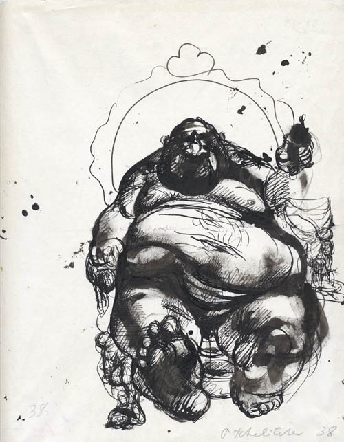 Pavel Tchelitchew, ink and wash, The Fat Man