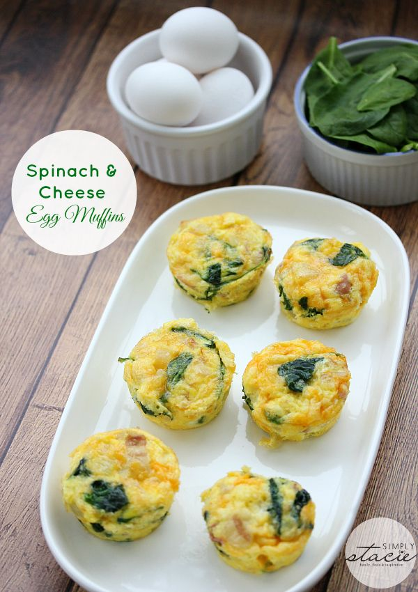 Spinach & Cheese Egg Muffins 6 to 8 strips of bacon, chopped ½ large onion, chopped 1½ cups cheddar cheese, shredded 2 to 3 cups of spinach 12 eggs cooking spray