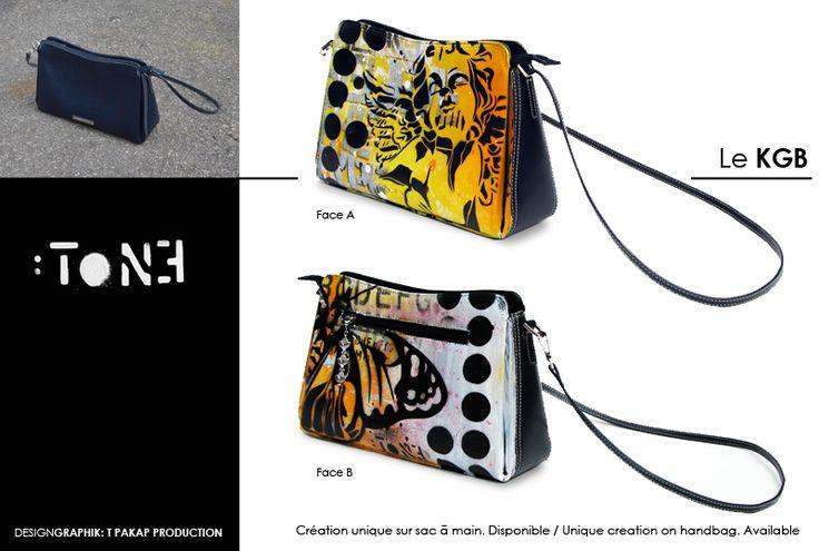 Le KGB. Création unique sur un sac à main en cuir. Artiste-peintre Tone. / Unique creation on a leather handbag. Artist-painter: Tone.  www.t-pakap.net