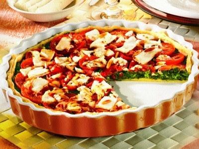 Quiche mit Spinat und Tomate (Rezept fuer Gruendonnerstag)