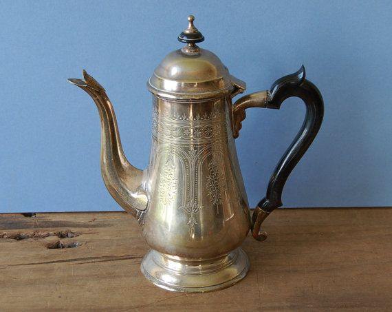 Vintage English silver plated coffee pot with ornate by nancyplage, £30.00