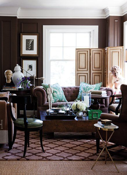 The Dark Walls, Tufted Sofa, Leather Wing Back And Opulent Decor Make This  Space