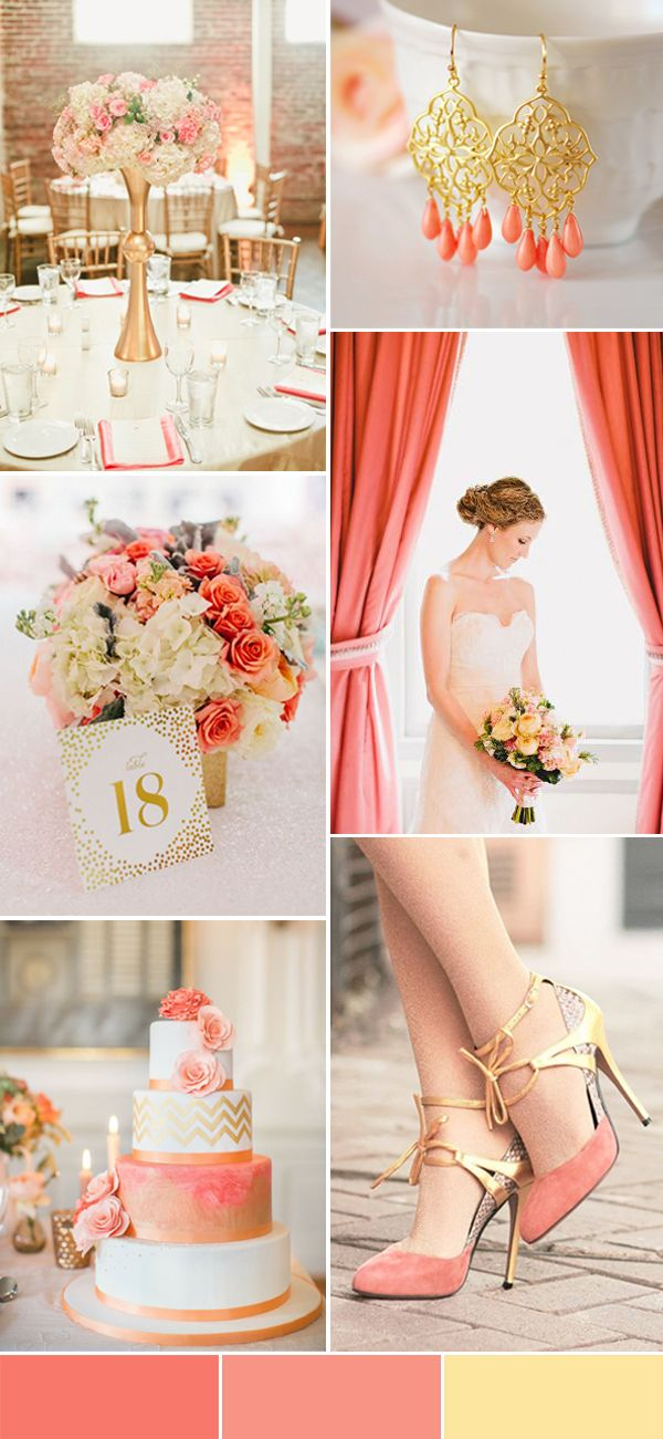 coral and light gold vintage wedding ideas