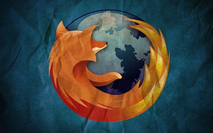 Descargar fondos de pantalla Firefox, papel viejo, logotipo, creativo