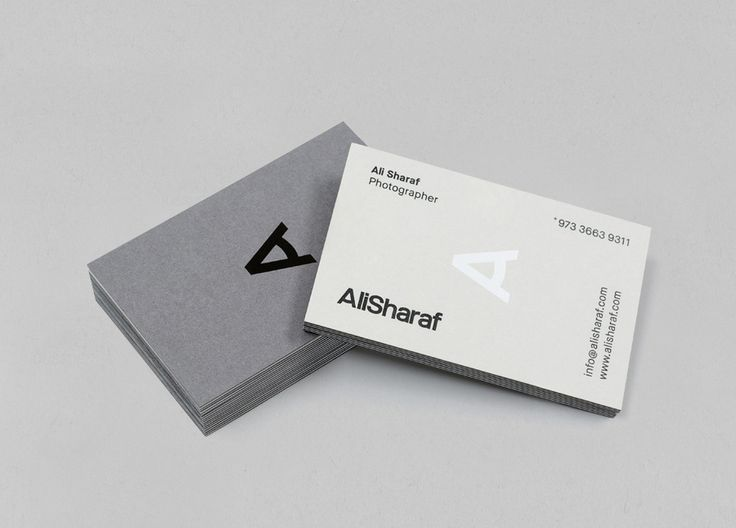 Logo and duplex business card with white and black foil detail designed by Mash for photographer Ali Sharaf. Featured on bpando.org