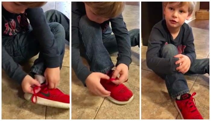5-Year-Old's Shoe Tying Tutorial Goes Insanely Viral Because It Works
