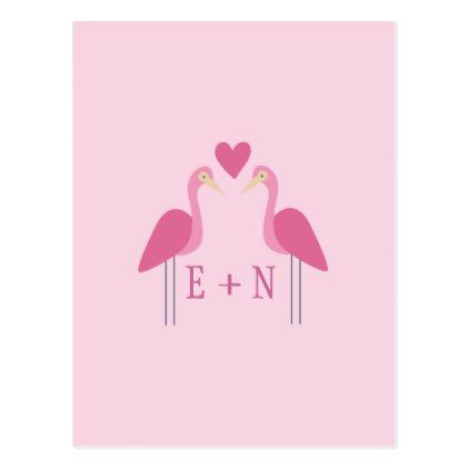 Cute Pink Flamingo Wedding Couple Custom Postcard - pink gifts style ideas cyo unique