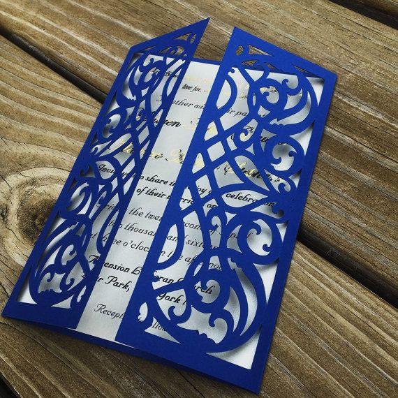 LASER CUT wedding Invitation, bi-fold card, Wedding Invitation,Scroll Design, royal, Blue, elegant, CLASSIC, wedding