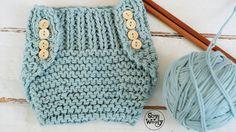 Patrón para tejer un Cubre Pañal fácil en dos agujas o palillos