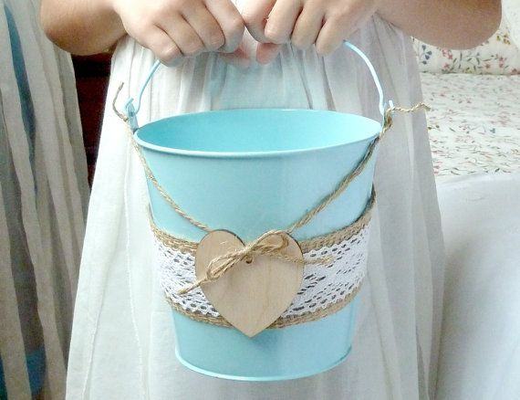Flower Girl Basket Tin Burlap Lace and Engraved Wooden Heart Rustic Shabby Chic Wedding, Light Blue