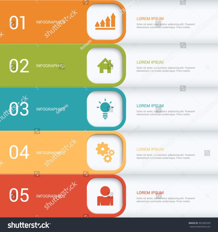 Simple Multicolor 5 Step Process Steps Labels Infographics Mockup Template Infographic Background Concepts Collection