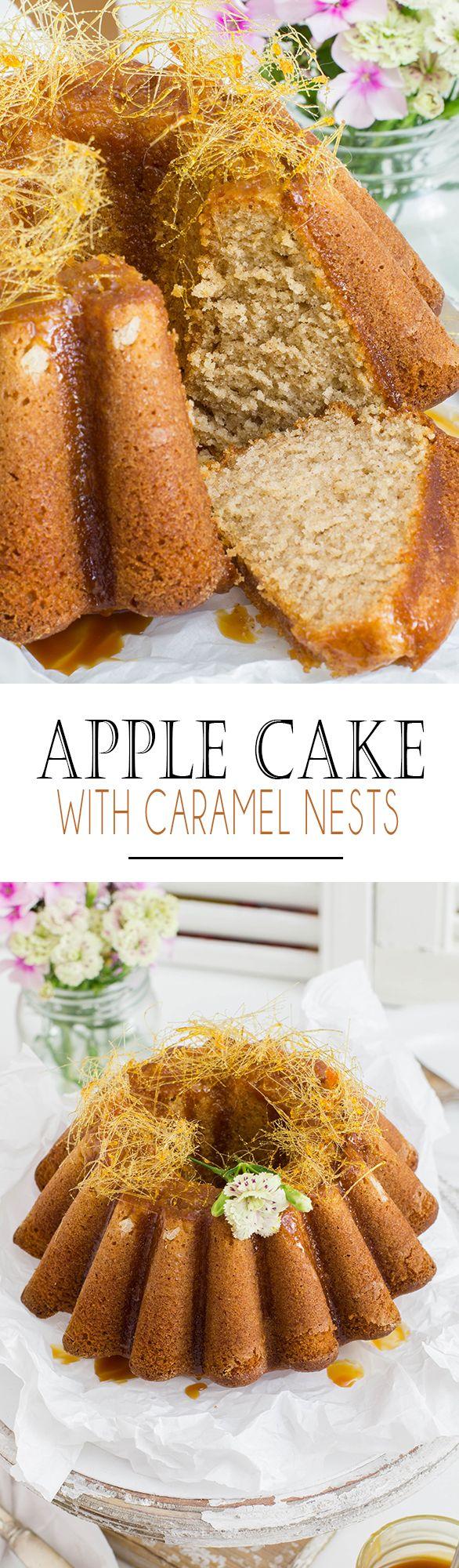 Apple Sponge Cake with salted caramel sauce and caramel nests | Apfel Rührkuchen mit salziger Karamellsauce und Karamellnestern