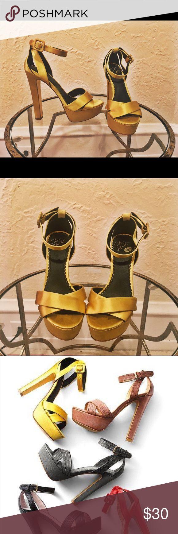 Colin Stuart Limited Edition City Sandal Gold/Yellow Silk. Black inside. High platform. Ankle strap. Surprisingly comfortable. Limited edition Colin Stuart/Victoria's Secrete. Colin Stuart Shoes Platforms