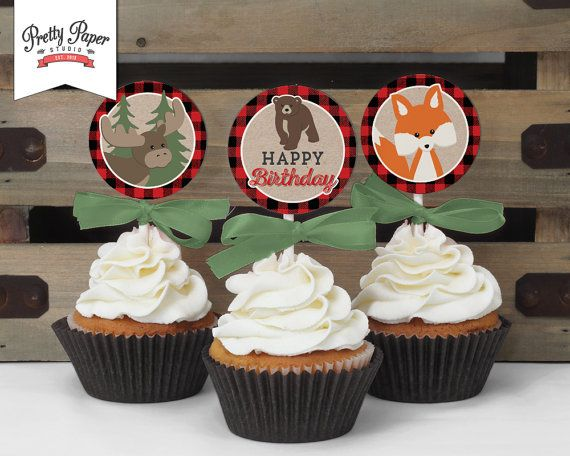 Cupcake Toppers -Buffalo Plaid Woodland Birthday // INSTANT DOWNLOAD // Lumberjack // Favor Tags // Fox Party Decor // Printable BP06