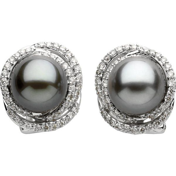14Kt White Gold Black Tahitian & Diamond Earrings; 0.625 carats total weight, SI2 in clarity and H in color. There are 46 round brilliant cut diamonds surrounding the black tahitian pearls. The pearls are about 9mm each semi-drilled