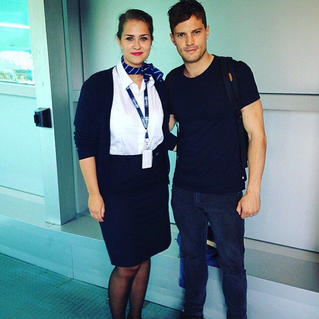 Jamie at Prague & London Airport - 1 Sep 2015 - Trailer Online Scenes Set 2017 - Fifty Shades Darker Movie