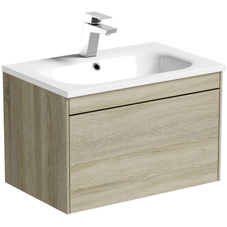 Mode Austin Oak Wall Hung Vanity Unit, Mode Burton White Wall Hung Vanity Unit And Basin 600mm
