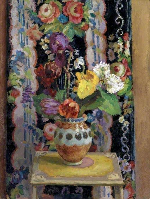 Duncan James Corrowr Grant (1885-1978) — Flowers Against Chintz, 1956 (517x685)