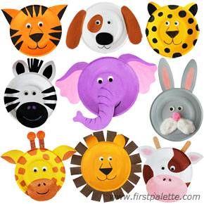 Plato de papel Animales artesanía