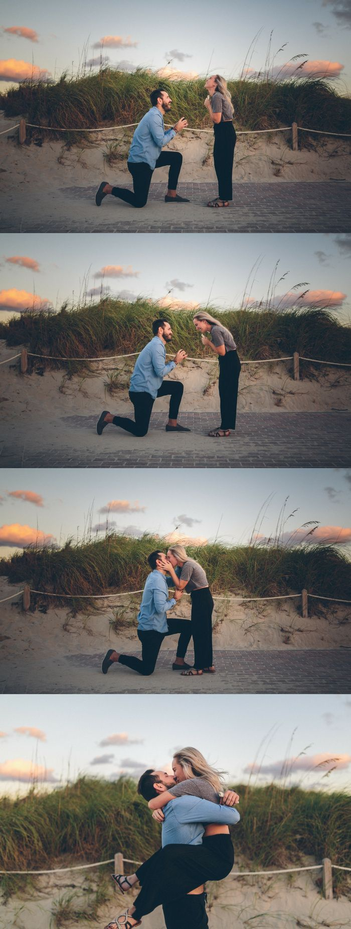 As soon as she saw him waiting to propose, she ran straight to him to say yes. <3