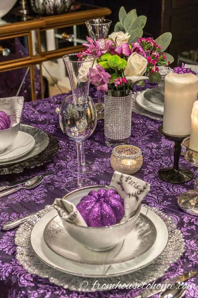 Elegant Purple And Silver Thanksgiving Tablescape Entertaining Diva From House To Home Thanksgiving Table Decorations Thanksgiving Table Settings Thanksgiving Table