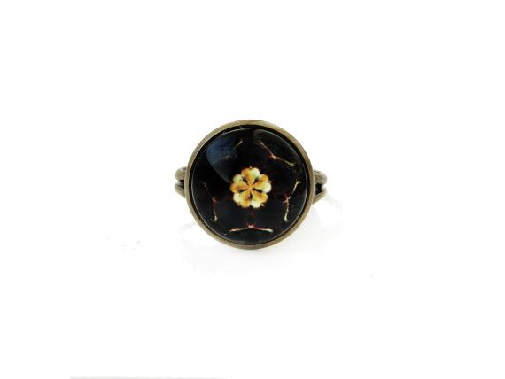 Sakura small adjustable ring, 12mm glass dome photo cabochon, bezel ring, statement ring, japanese style ring, cherry blossom, black golden