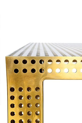 Kelly Wearstler Perforated Table in solid bronze. #kellywearstler #table #furniture #perforated: Brass Legs, Antique Brass, Brass Perforated, Perforated Metal Furniture, Design, Perforated Table