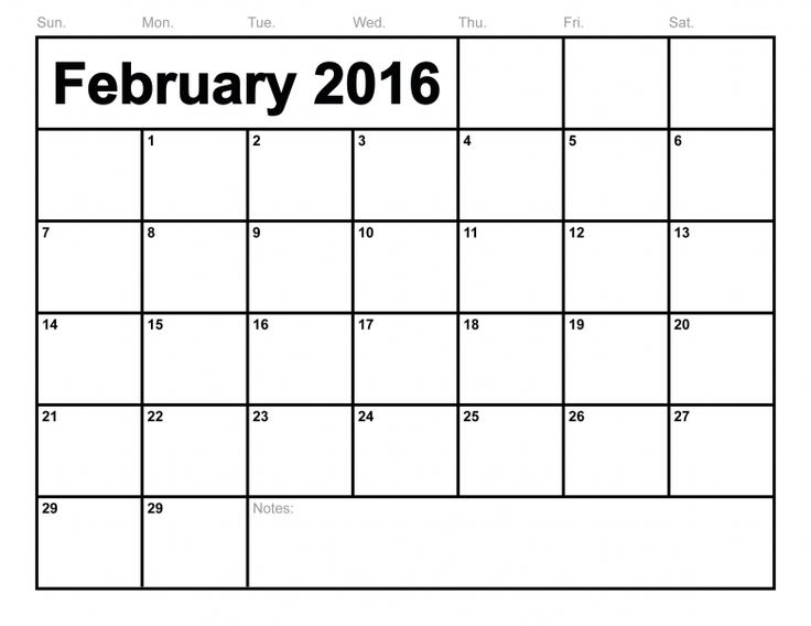 February 2016 Calendar Printable Template 8 Templates  xjb