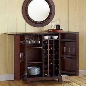 for back dining/living room spot for the booze. Color perfect for w/oval dining table. Possibly the buffet a better fit.