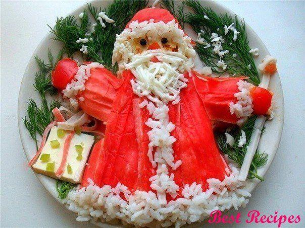 Christmas salad with crab sticks «Santa Claus»