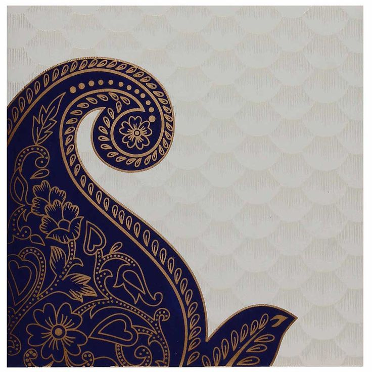 Indian Wedding Card in Cream and Golden with Blue Paisley Design.