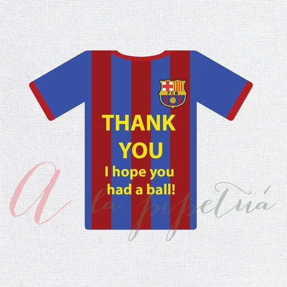 This listing is for a printable Soccer Thank you tag, Barcelona tag.  If you would like this item personalized it has an extra cost of $2, please add the following listing to your cart as well at checkout: https://www.etsy.com/listing/235047766/add-personalization-to-your-tag?ref=shop_home_active_3   For matching invitation, tags, and other soccer printables, please see them here: https://www.etsy.com/shop/AlapipetuaDesign?section_id=15923984&ref=shopsection_leftnav_6  You will receive a PDF…