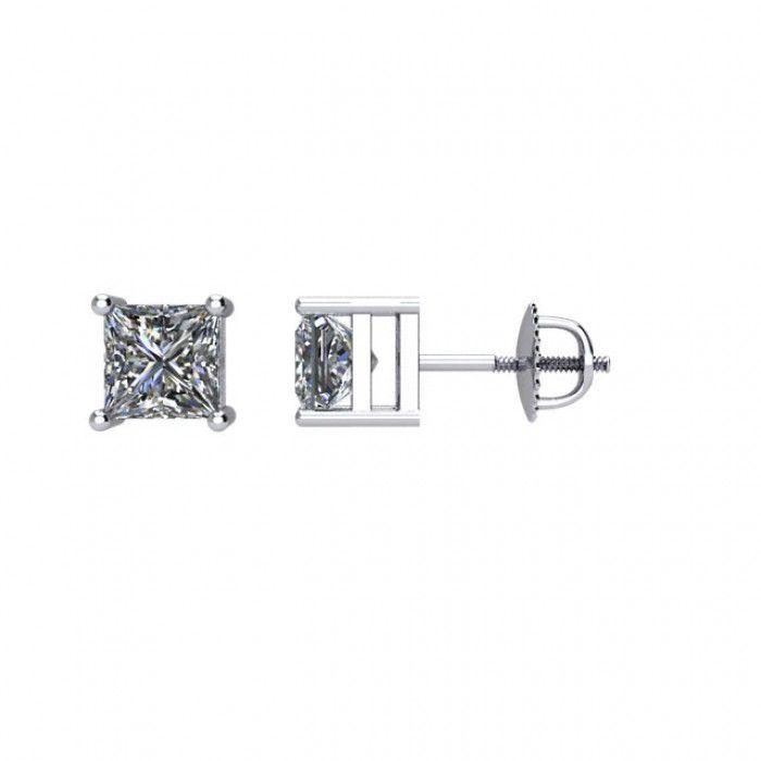 Princess cut diamond stud earrings white gold
