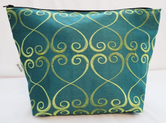 Makeup Bag Cosmetic Bag Zipper Pouch  Turquoise by nanabrowns